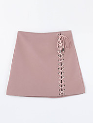 Women's Lace up Solid Pink / Black / Brown / Green SkirtsSimple Above Knee