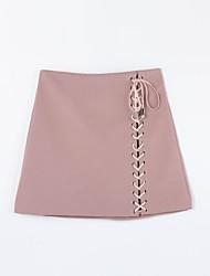 Damen Röcke einfarbigLässig/Alltäglich Einfach Über dem Knie Baumwolle Unelastisch Herbst
