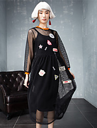 ROOM404   Women's Going out Street chic Loose DressEmbroidered Round Neck Knee-length