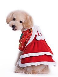 Коты Собаки Костюмы Платья Одежда для собак Зима Однотонный Косплей Рождество Красный