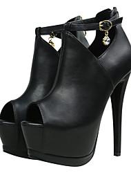 Homme-Décontracté-Noir-Talon Aiguille-Bottine-Chaussures à Talons-Similicuir