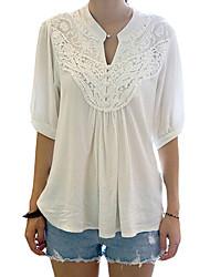 Damen Solide Einfach Lässig/Alltäglich T-shirt,Rundhalsausschnitt Frühling / Herbst ½ Länge Ärmel Weiß Polyester Mittel