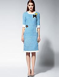 Trapèze Robe Femme Décontracté / Quotidien Chinoiserie,Couleur Pleine Col Arrondi Midi ½ Manches Bleu / Rose Polyester Printemps / Automne