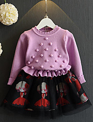 Girl's Casual/Daily Patchwork DressCotton / Polyester Winter / Spring / Fall Purple / Red