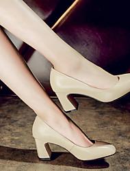 Damen-High Heels-Lässig-Leder-StöckelabsatzSchwarz / Mandelfarben