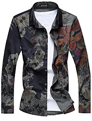 Men's Casual Slim High Quality Floral Shirt,Cotton / Polyester Long Sleeve Black