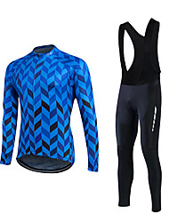 fastcute Cycling Jersey with Bib Tights Men's Long Sleeve Bike Clothing SuitsBreathable Lightweight Materials 3D Pad Back Pocket