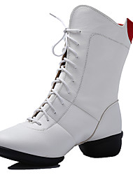 Women's Dance Shoes Boots Leatherette Breathable Cotton-Padded Low Heel Black/Red/White