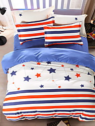 Bedtoppings Comforter Duvet Quilt Cover 4pcs Set Queen Size Flat Sheet Pillowcase Sripe Stars Prints Microfiber