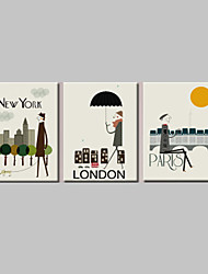 VISUAL STAR®Wall Decoration Art Print Poster London/New York/Paris Cartoon Decoration Picture Canvas set of 3