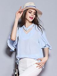 Women's Going out Cute Summer PoloSolid