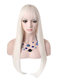 Fashion Long Straight Wig White Color Synthetic Cosplay African American Wig