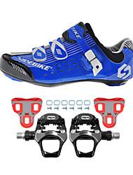 SD003 chaussures de cyclisme chaussures de sport de vélo de route d'amortissement / amortissement bleu / noir sidebike pédales rock weige096