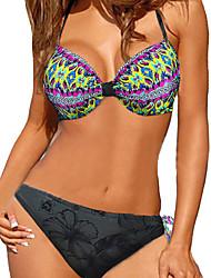 Bikinis Aux femmes Fleur Licou Nylon / Spandex