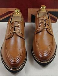 Для мужчин Туфли на шнуровке Микроволокно Осень Повседневные На плоской подошве Черный Желтый Красный Менее 2,5 см