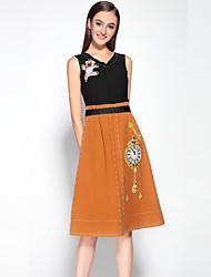 mary yan& Yu mulheres dressembroidered v pescoço na altura do joelho preto sem mangas de poliéster meados aumento médio micro-elástica