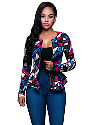 Women's Casual/Daily Street chic Spring / Fall Jackets Patchwork Lace Slim Sexy  Round Neck Long Sleeve Blue