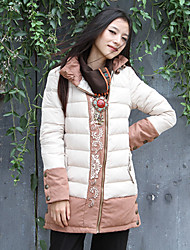 Our Story Women's Long Padded CoatBoho Going out Embroidered-Polyester Cotton Long Sleeve Stand Beige