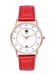 Belle Rose Golden Case White Dial Red Leather Strap Watch