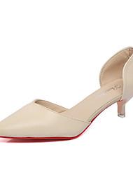 Mujer-Tacón Stiletto-Confort-Tacones-Casual-PU-Rojo / Beige