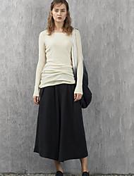 rizhuo Frauen Casual / Tages einfachen Frühling / Herbst t-shirtsolid Rundhals Langarm weiß / grün Baumwolle dünn