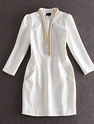 Boutique S Going out Sophisticated Sheath DressSolid Strapless Above Knee Long Sleeve White / Black Cotton