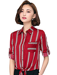 Spring Fall Going out Casual Women's Tops Fashion Striped Shirt Collar Long Sleeve Slim Chiffon Blouse