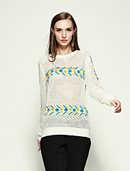 Boutique S Women's Casual/Daily Simple Spring BlouseEmbroidered Round Neck Long Sleeve White / Black
