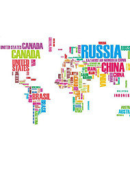 Large World Map Removable Wall Decal, Wall Sticker Application, Huge Finished Size, 5 Foot X 3 Foot