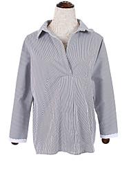 Women's Casual/Daily Simple Fall ShirtSolid Shirt Collar Long Sleeve Blue / Gray Cotton Medium
