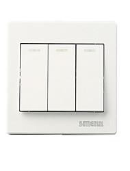 Flame Retardant PC Plastic Panel Three Open Single Control Wall Switch