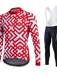 fastcute Cycling Jersey with Bib Tights Women's Men's Unisex Long Sleeve BikeTracksuit Jersey Tights Bib Tights