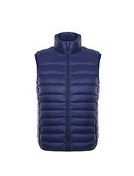 Men's Regular Down Light Vest Coat,White Duck Down Solid Sleeveless Zipper