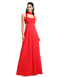 TS Couture Prom Formal Evening Dress - Elegant A-line Halter Floor-length Jersey with Pleats