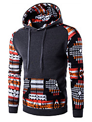 Men's Print / Color Block Casual / Sport HoodieCotton Long Sleeve Black / Gray