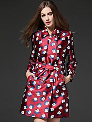 mulheres frmz de sair meio de poliéster vermelho rua chique trincheira coatprint colarinho da camisa de inverno manga longa