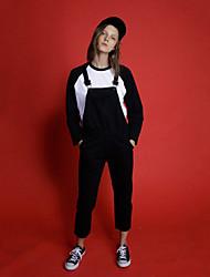 neato feste Frauen schwarz jumpsuitssimple Riemen ärmel