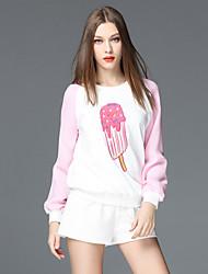 frmz mulheres saindo do bloco hoodiescolor regulares / bordados de poliéster-de-rosa bonito de manga comprida cair meio inelástica