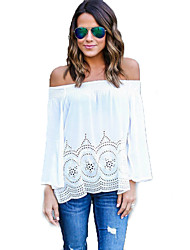 Women's Going out / Party/Cocktail Sexy / Simple All Seasons BlouseSolid Boat Neck Long Sleeve Blue / White