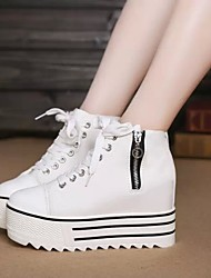 Women's Sneakers Fall Platform Canvas Casual Wedge Heel Platform Lace-up Black White Other