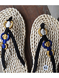 Men's Slippers & Flip-Flops Summer Toe Ring Tulle Casual Flat Heel Braided Strap Black Blue