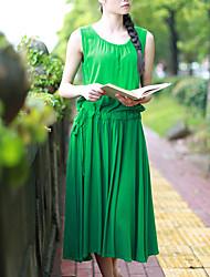 Cynthia Women's Going out Vintage Tunic DressSolid Round Neck Midi Sleeveless Green Cotton