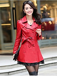 Women's Plus Size Simple Trench CoatSolid Notch Lapel Long Sleeve Fall Red / Black PU Medium