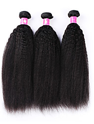 "Virgin Brazilian Kinky Straight Human Hair Weave 1B Black Remy Human Hair Weft For Afro Women 300g/lot 12""-30"""