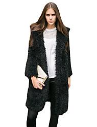 Feminino Casaco Casual / Formal Moda de Rua Inverno,Sólido Rosa / Preto / Cinza Pêlo de Cordeiro Colarinho de Camisa-Manga Longa Grossa