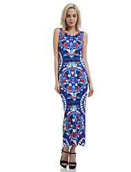 Women's Sexy Bodycon Beach Casual Party Sleeveless Print Maxi Dress