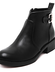 Women's Boots Fall / Winter Fashion Boots / Bootie / Combat Boots / Round Toe Low Heel Buckle / Zipper Black