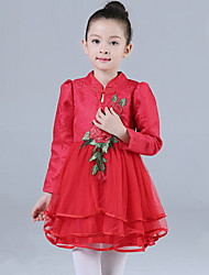 Girl's Casual/Daily Floral DressCotton / Polyester Winter / Fall Red