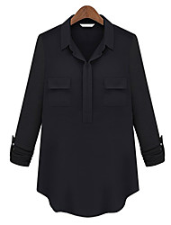 Women's Casual/Daily Vintage All Seasons BlouseSolid Shirt Collar Long Sleeve White / Black Polyester Thin