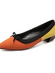 Women's Heels Fall Pointed Toe Fleece Office & Career / Casual Low Heel Bowknot Green / Red / Orange Others